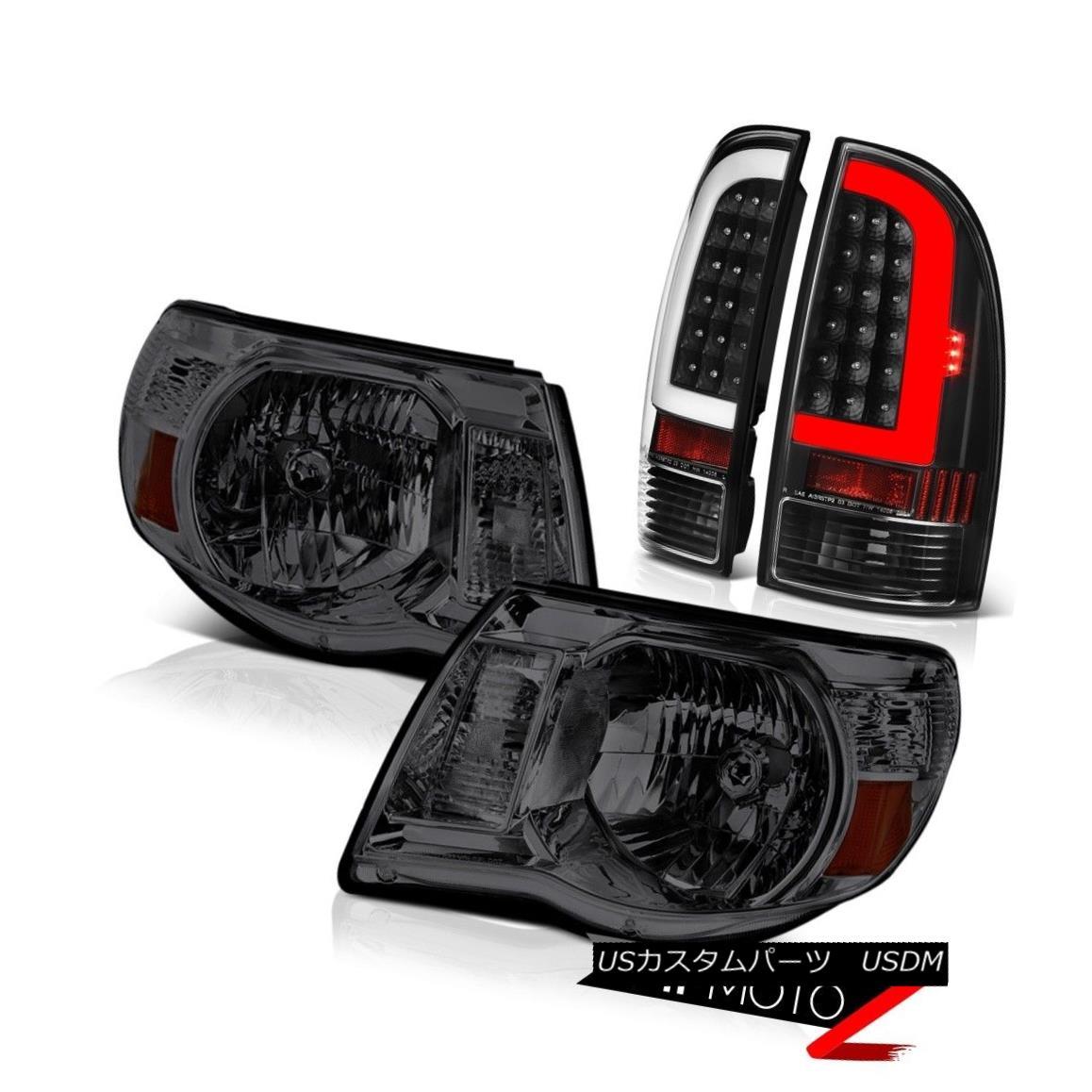 テールライト 2005-2011 Toyota Tacoma Inky Black Fiber Optic Tail Graphite Smoke Head Lights 2005-2011トヨタタコマインキブラックファイバーテールグラファイトスモークヘッドライト