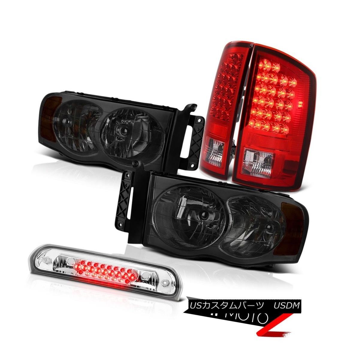 テールライト Left Right Smoke Headlights Red Tail Lights Roof Stop LED Clear 02-05 Ram Magnum 左スモークヘッドライト赤テールライトルーフストップLEDクリア02-05ラムマグナム