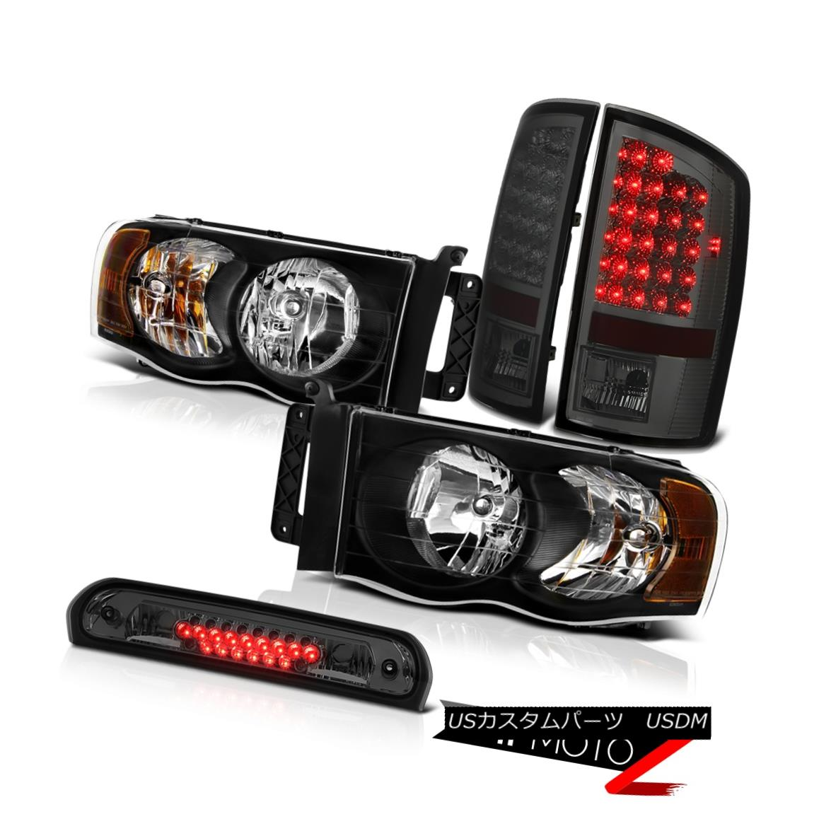 テールライト Inky Black Headlights Smoke Brake Tail Lights Third Cargo LED 02-05 Dodge Ram WS Inky BlackヘッドライトスモークブレーキテールライトThird Cargo LED 02-05 Dodge Ram WS