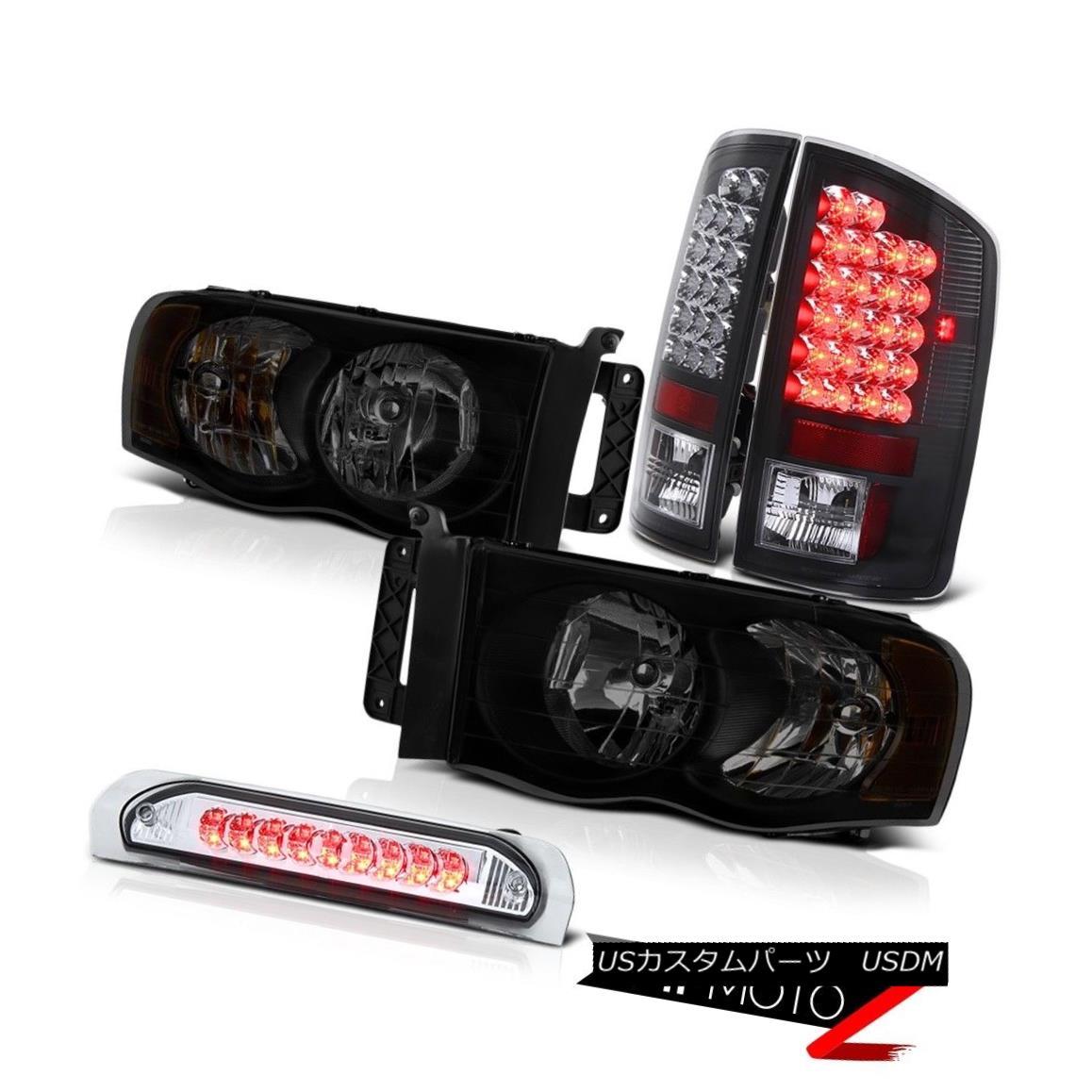 テールライト 02-05 Dodge Ram 1500 2500 4.7L Dark Tinted Headlamps 3RD Brake Lamp Rear Lamps 02-05 Dodge Ram 1500 2500 4.7Lダークティンテッドヘッドランプ3RDブレーキランプリアランプ