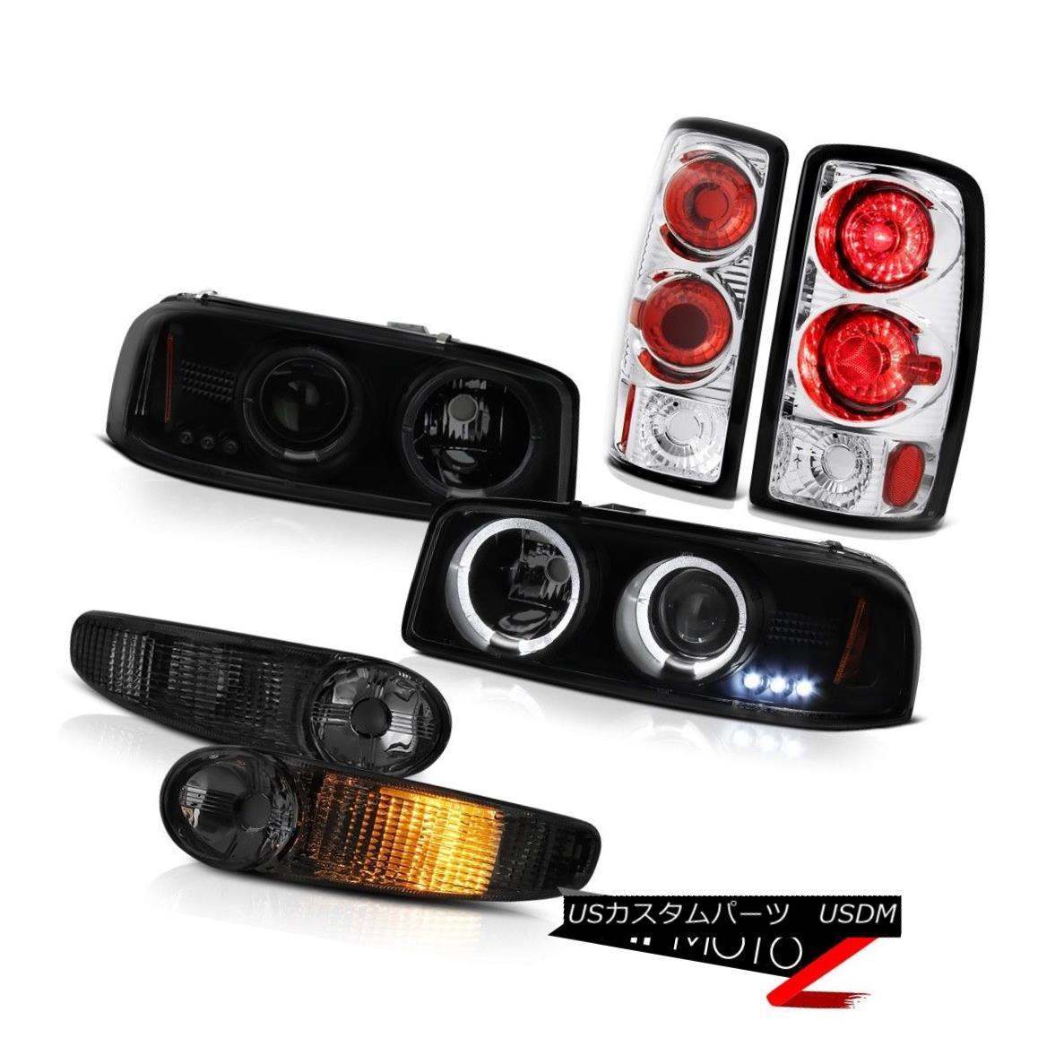 テールライト 01-06 GMC Yukon XL Denali SLE Turn Signal Taillights Sinister Black Headlamps 01-06 GMC Yukon XLデナリSLEターンシグナルターンライト灰色黒ヘッドランプ