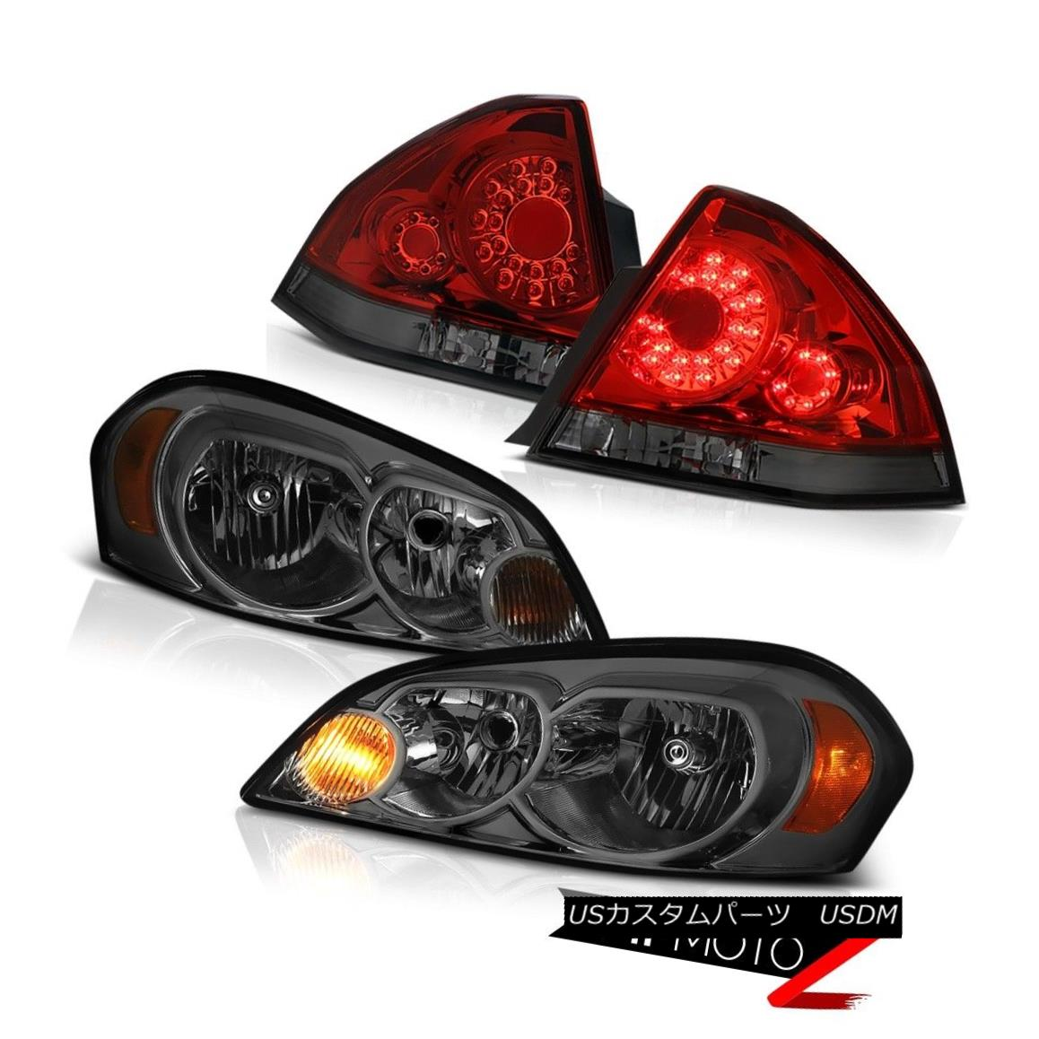 テールライト 06-13 Chevy Impala LS Red Smoke Tail Lamps Dark Headlights LED