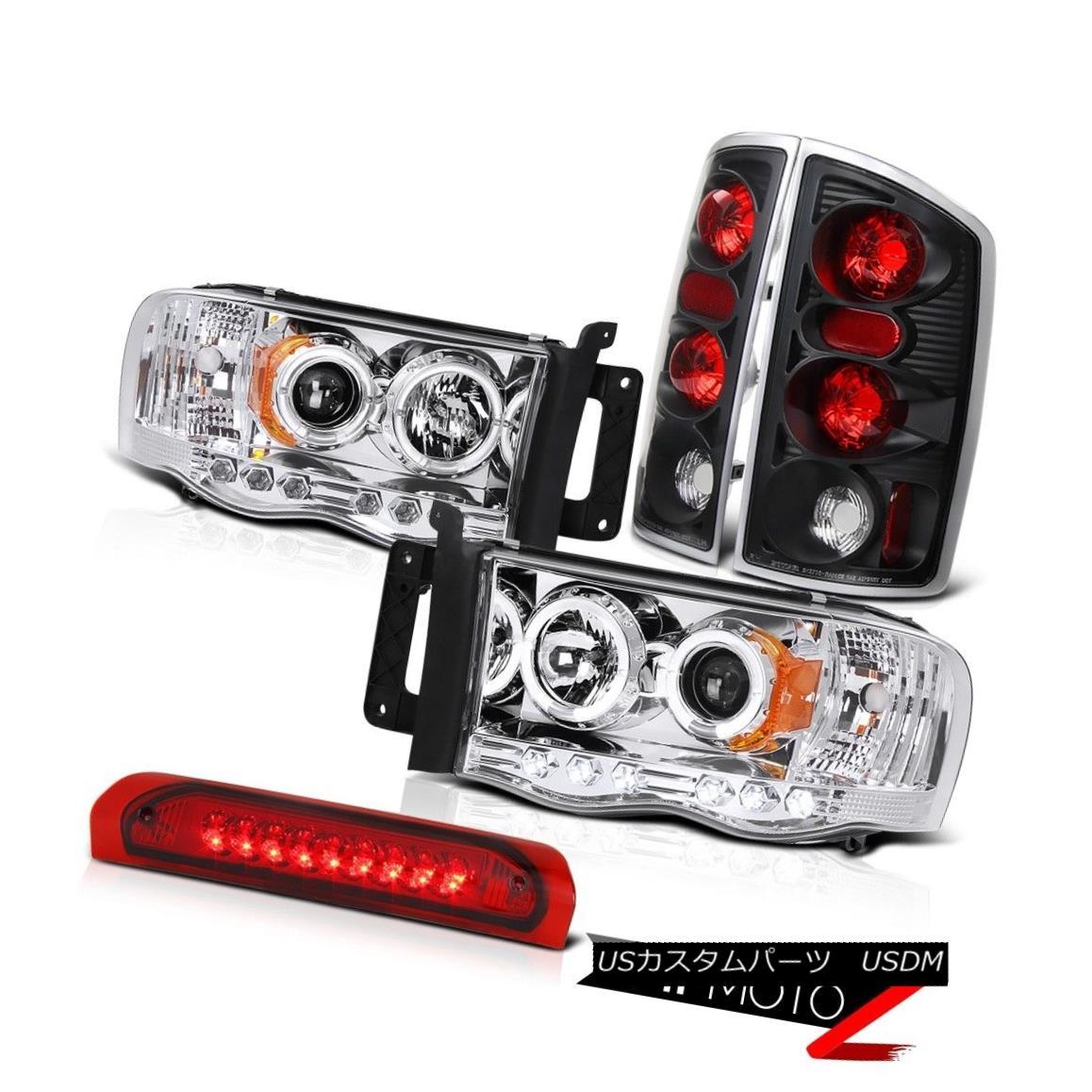 テールライト L+R Halo Projector Headlight+Led 3rd Brake Lamp+Black Tail Light Dodge 02-05 RAM L + R Haloプロジェクターヘッドライト+ Led 3番目のブレーキランプ+ Black Tail Light Dodge 02-05 RAM