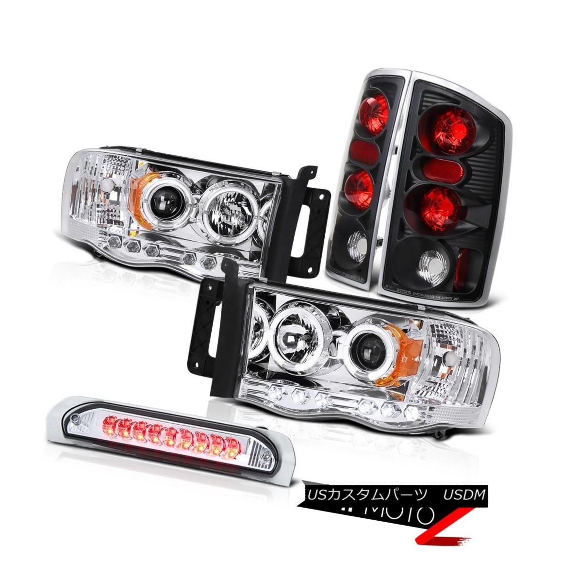 テールライト 02-05 Dodge RAM Halo Projector Headlight+Black Tail Light+Chrome 3rd Brake Lamp 02-05ドッジRAMハロープロジェクターヘッドライト+ブラック kテールライト+クローム第3ブレーキランプ