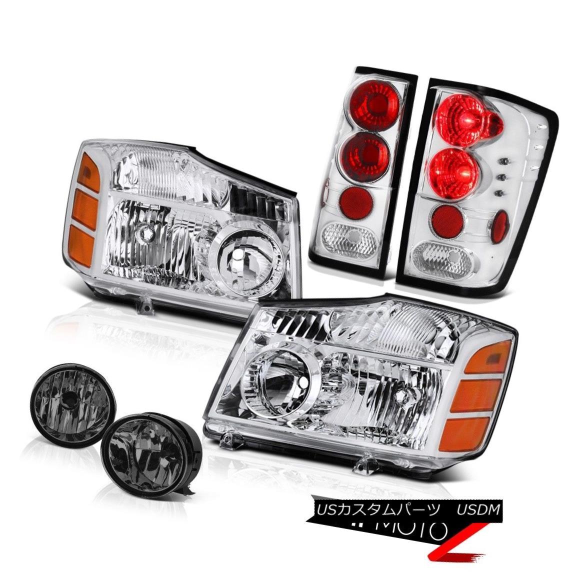 テールライト NEW SET For 04-15 Titan Left Right Headlights Rear Light Dark Smoke Bumper Fog NEW SET 04-15タイタン左ライトヘッドライトリアライトダークスモークバンパーフォグ