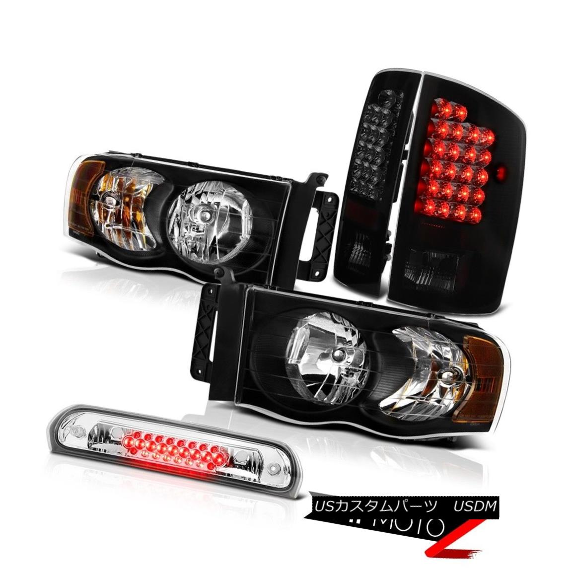 テールライト Jet Black Headlights Bright LED Taillamps Chrome 3rd Brake 02-05 Ram TurboDiesel ジェットブラックヘッドライト明るいLEDタイルランプChrome 3rd Brake 02-05 Ram TurboDiesel