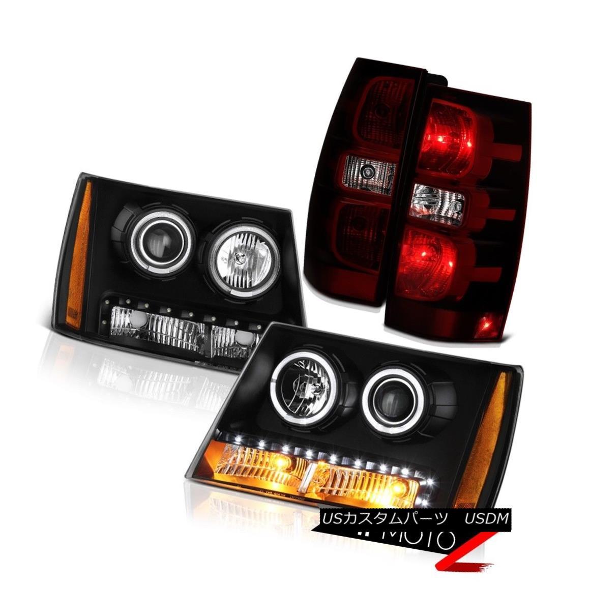テールライト 2007-2014 Chevy Suburban LT2 Raven Black Headlamps Taillights Halo Ring Oe Style 2007-2014シボレー郊外LT2レーブンブラックヘッドランプティールズハローリングオースタイル