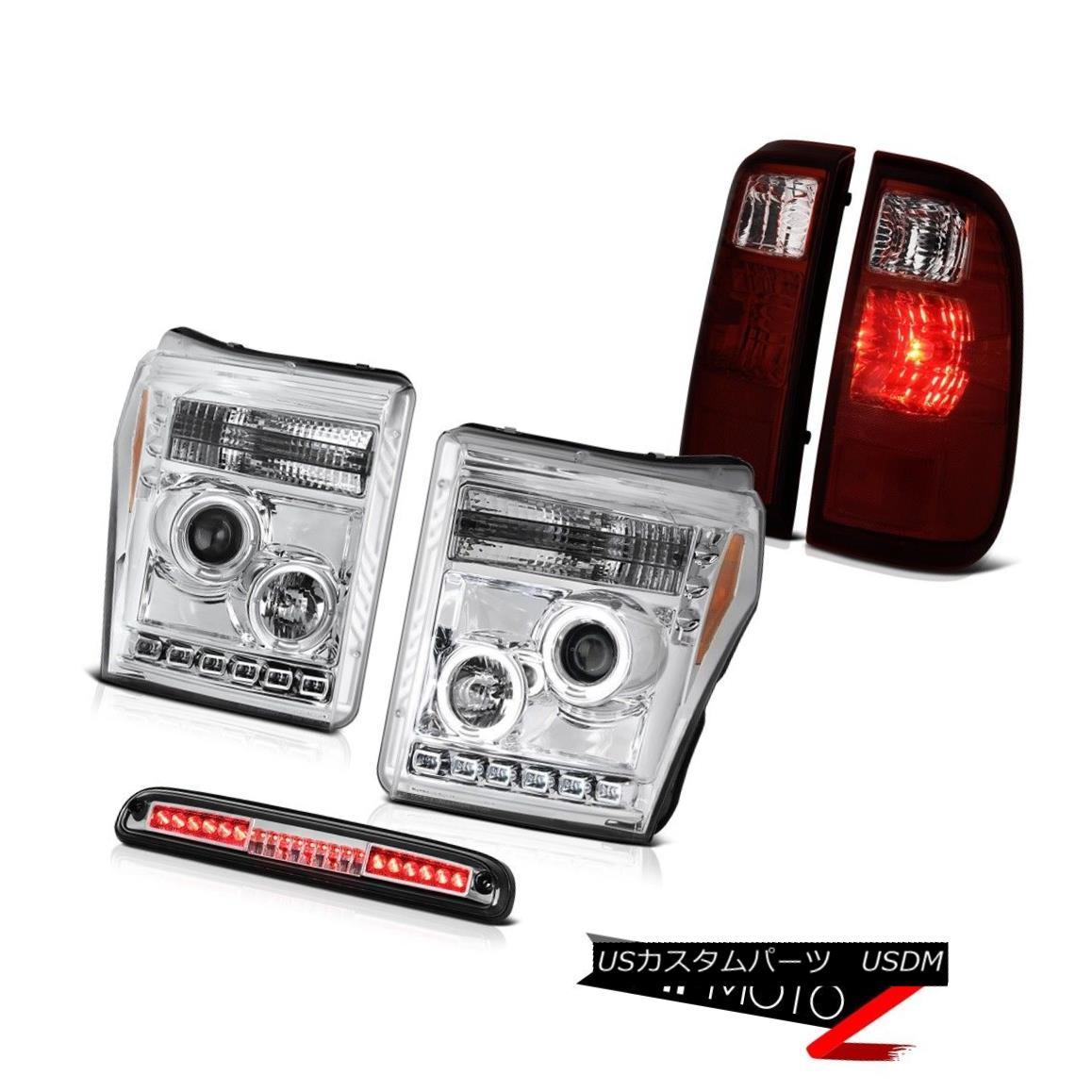 テールライト 11-16 F250 6.2L Chrome Third Brake Light Burgundy Red Parking Lights Headlights 11-16 F250 6.2Lクロームサードブレーキライトブルゴーニュレッドパーキングライトヘッドライト