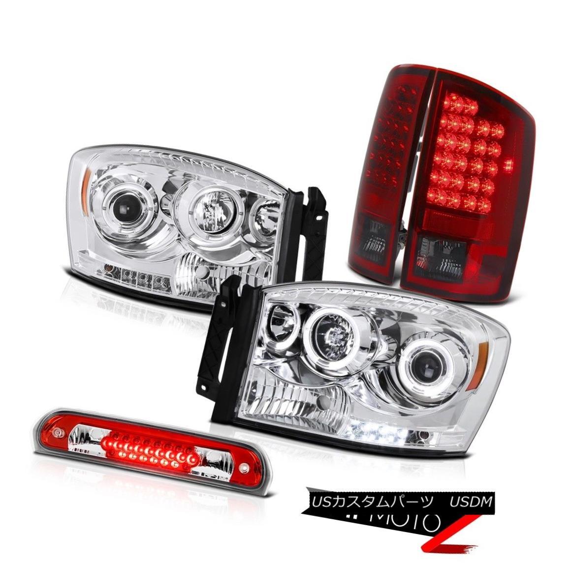 テールライト Chrome LED Headlights Cherry Red Tail Lights 3rd Brake 2007-2008 Dodge Ram 3500 クロームLEDヘッドライトチェリーレッドテールライト3rdブレーキ2007-2008ドッジラム3500