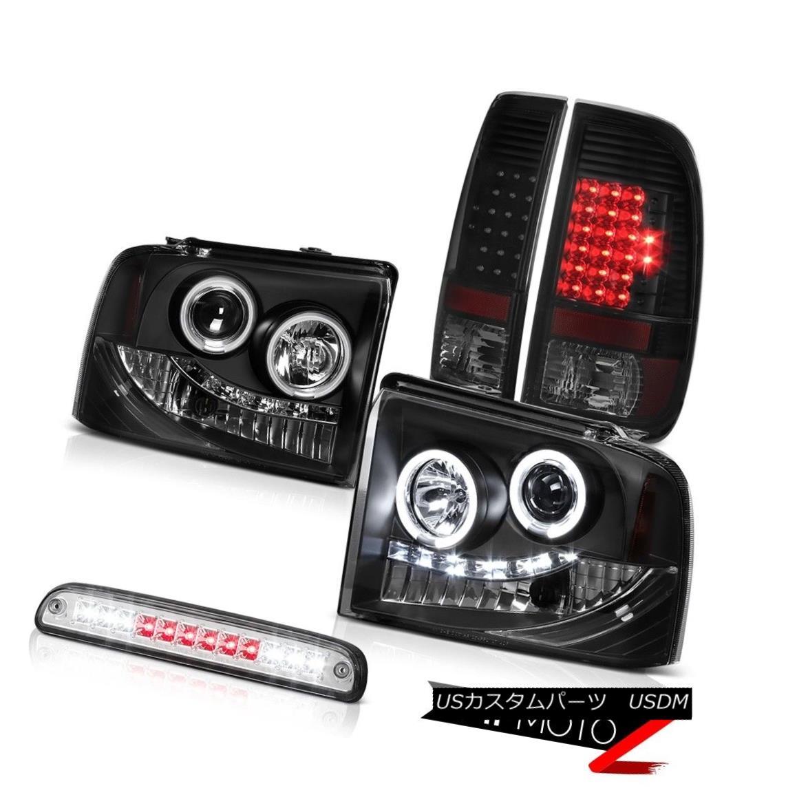 テールライト 05-07 F350 Outlaw CCFL Angel Eye Headlights SMD Tail Lights High Stop LED Chrome 05-07 F350アウトローCCFLエンジェルアイヘッドライトSMDテールライトハイストップLEDクローム