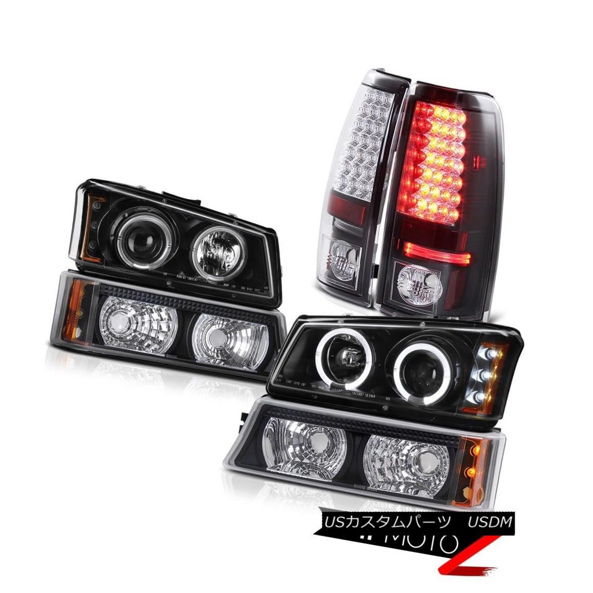 テールライト 03 04 05 06 Silverado Black Angel Eye LED DRL Head Lights Bumper LED Tail Lights 03 04 05 06 Silverado Black Angel LED DRLヘッドライトバンパーLEDテールライト