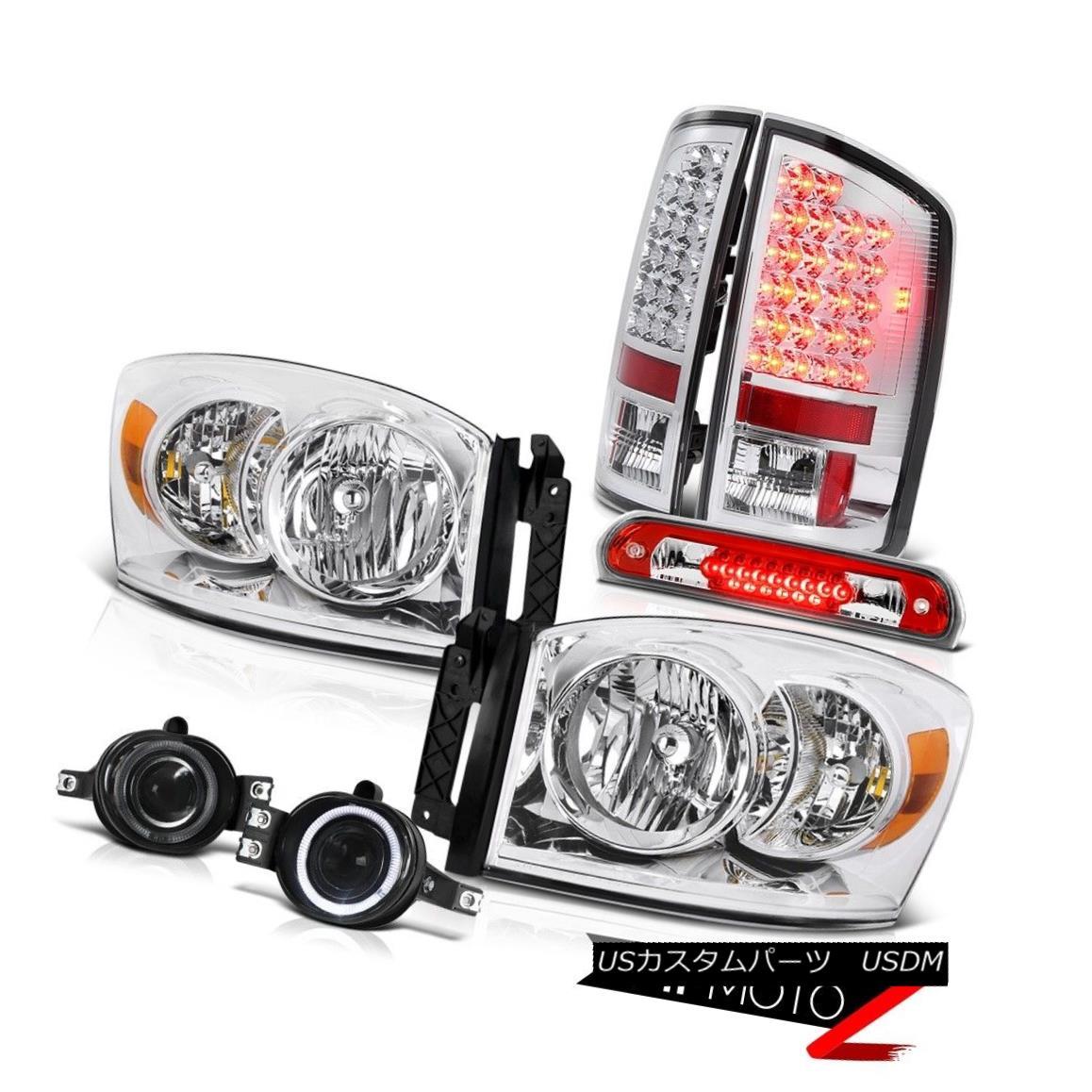 テールライト 2007-2008 Ram Magnum V8 L+R Headlamps Euro LED Tail Lights Fog Roof Brake Red 2007-2008ラムマグナムV8 L + RヘッドランプユーロLEDテールライトフォグルーフブレーキレッド