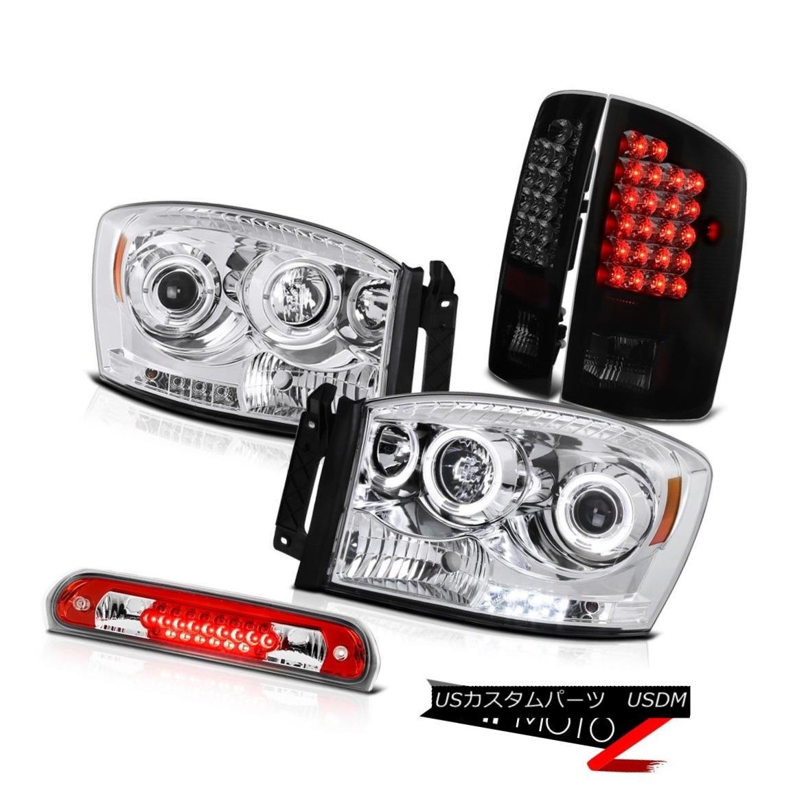 テールライト Halo LED Headlights Sinister Black Taillights High Stop Red 07 08 Ram Magnum V8 Halo LEDヘッドライト灰色の闇の灯台ハイストップレッド07 08ラムマグナムV8