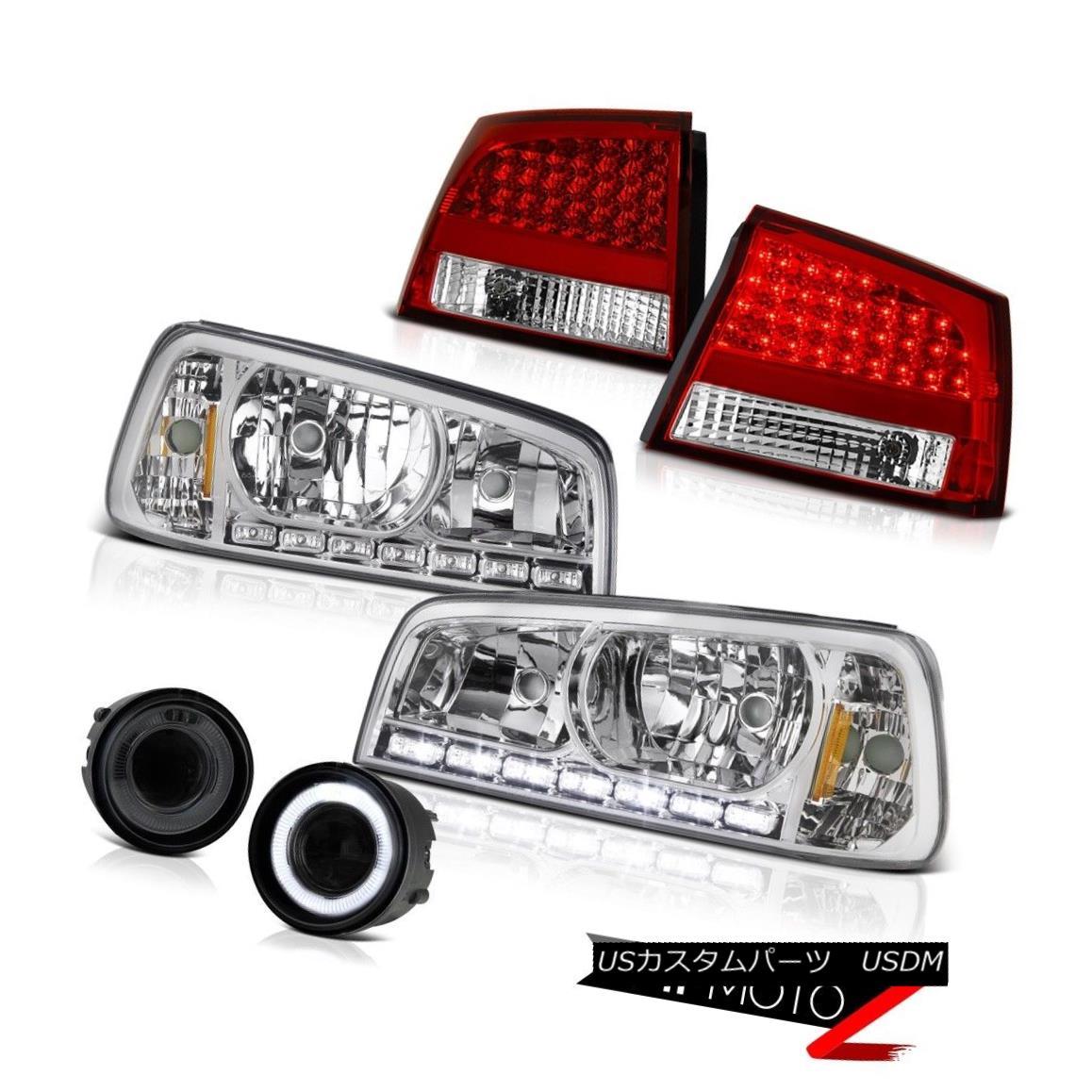 テールライト 2009 2010 Charger 2.7L Halo Headlights Smoke Bright LED Tail Lights DRL Foglight 2009年の充電器2.7L Haloヘッドライト煙を浴びる明るいLEDテールライトDRL Foglight