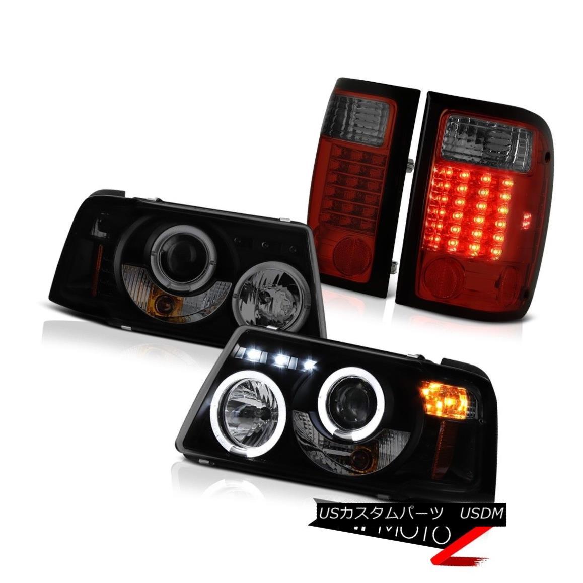 テールライト Projector Angel Eye Headlights Cherry Red Tail Lights 2001-2011 Ford Ranger XLT プロジェクターエンジェルアイヘッドライトチェリーレッドテールライト2001-2011 Ford Ranger XLT
