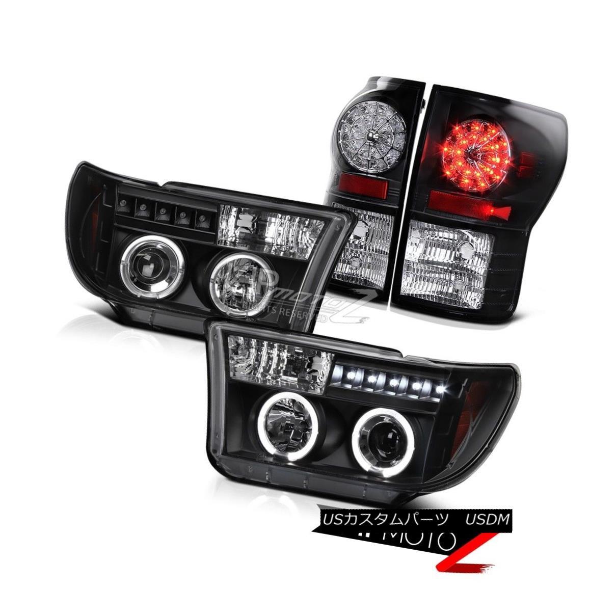 テールライト 07-13 Toyota Tundra TRD Black Halo Projector Headlight+LED Tail Lamp 4PCS COMBO 07-13トヨタトンドラTRDブラックハロープロジェクターヘッドライト+ LEDテールランプ4PCS COMBO