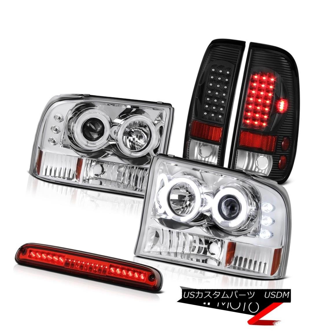 テールライト 99 00 01 02 03 04 Ford F250 Halo CCFL Headlamps Bulbs Tail Wine Red Third Brake 99 00 01 02 03 04フォードF250ハローCCFLヘッドランプ球根テールワインレッド第3ブレーキ