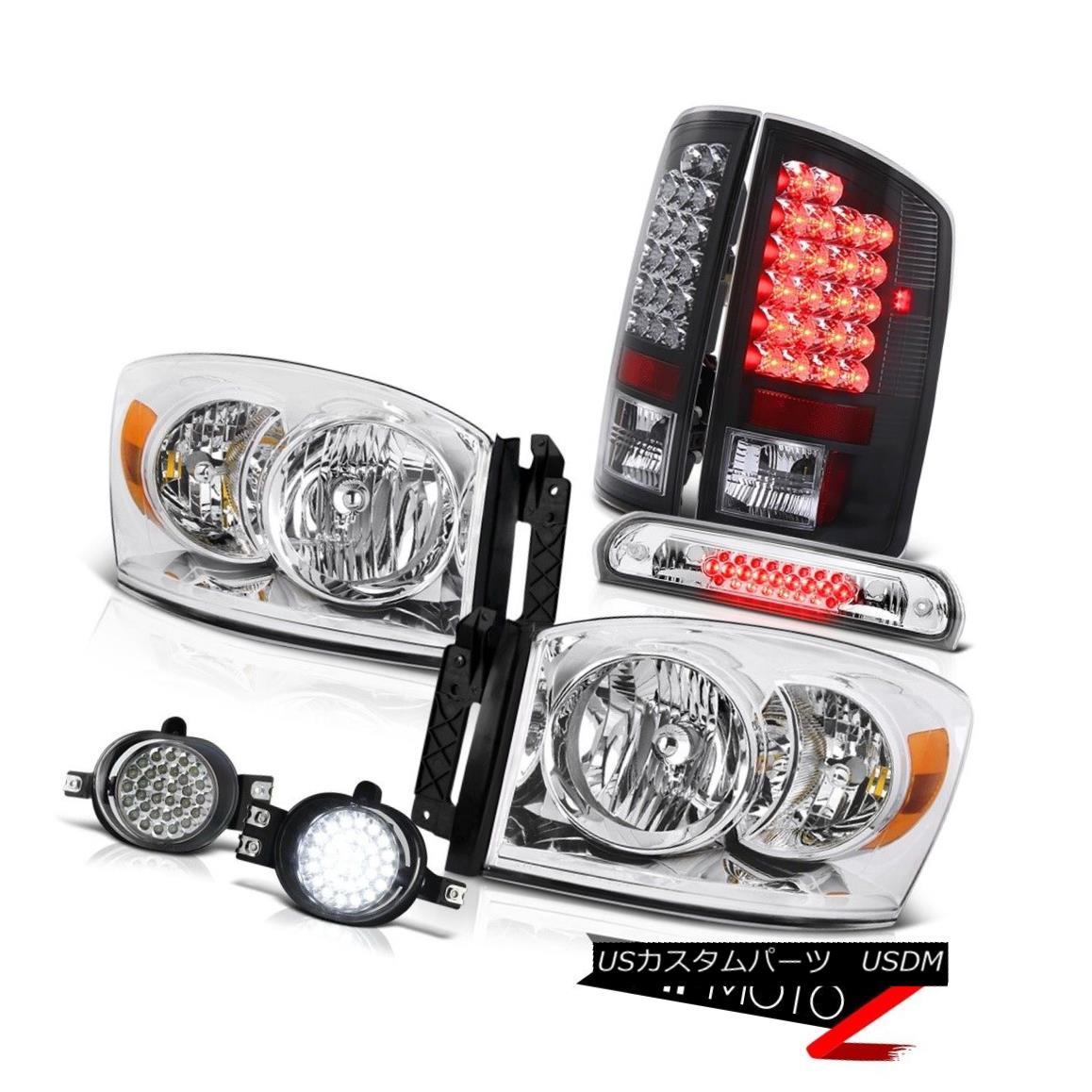 テールライト Clear Headlight L.E.D Rear Tail Lights SMD LED Fog Roof Brake Cargo 06 Dodge Ram クリアヘッドライトL.E.DリアテールライトSMD LEDフォグルーフブレーキカーゴ06 Dodge Ram