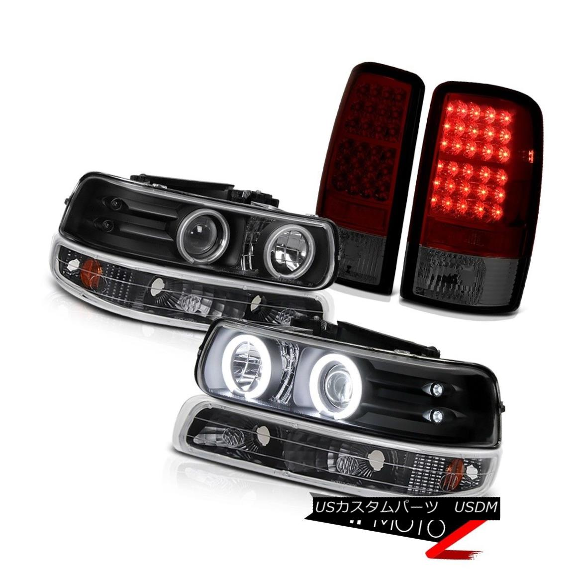 テールライト Angel Eye CCFL Headlamps Bumper Cherry Red Tail Lights 2000-2006 Chevy Tahoe LS エンジェルアイCCFLヘッドランプバンパーチェリーレッドテールライト2000-2006 Chevy Tahoe LS