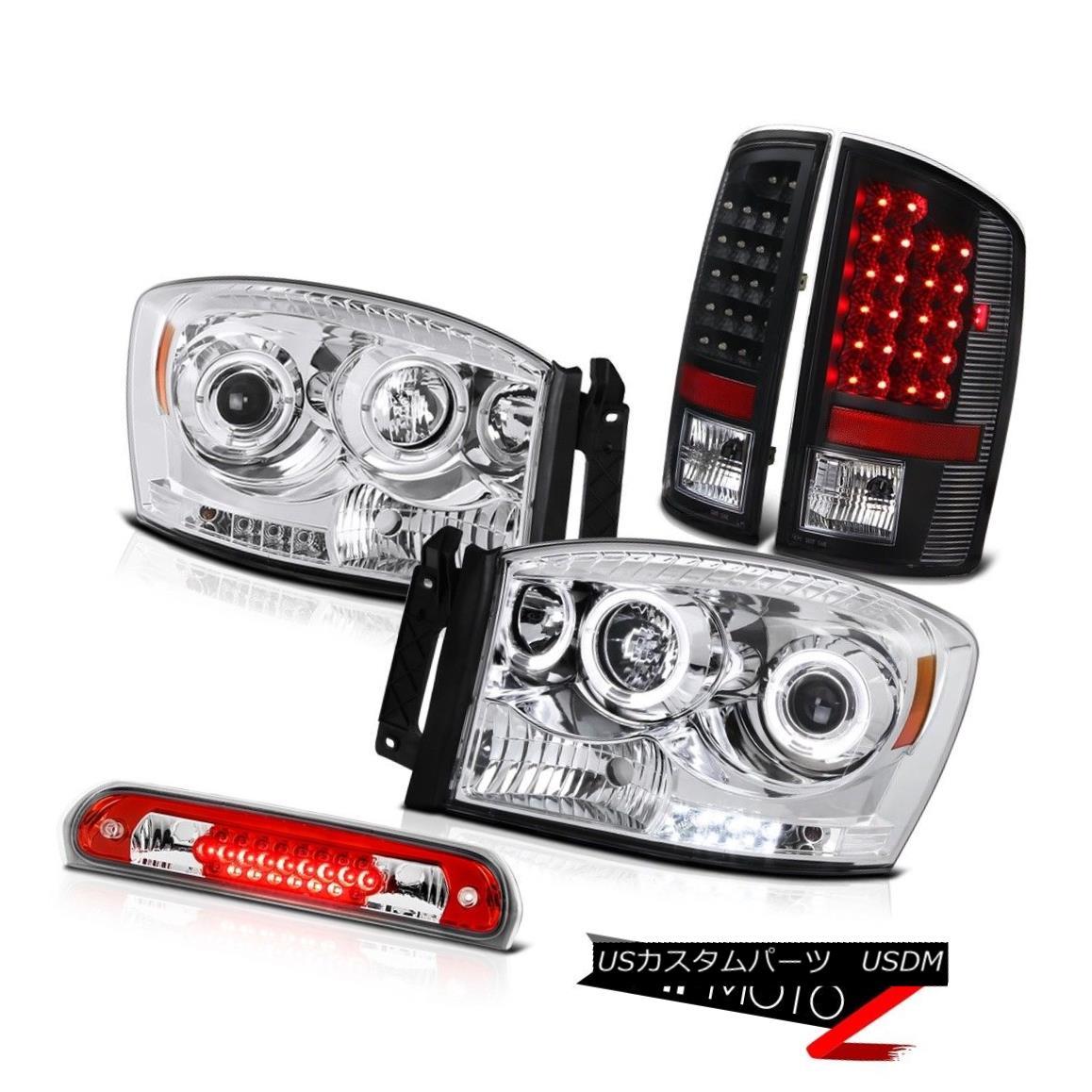 テールライト Chrome Halo LED Headlights Black Taillamps High Brake Cargo 07 08 Dodge Ram ST クローム・ハローLEDヘッドライトブラック・タイルランプハイブレーキ・カーゴ07 08ドッジ・ラムST