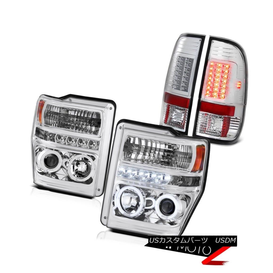 テールライト 08 09 10 Ford F250 F350 SuperDuty King Ranch CCFL Halo Headlights LED Taillamps 08 09 10 Ford F250 F350 SuperDutyキングランチCCFL HaloヘッドライトLEDタイルランプ