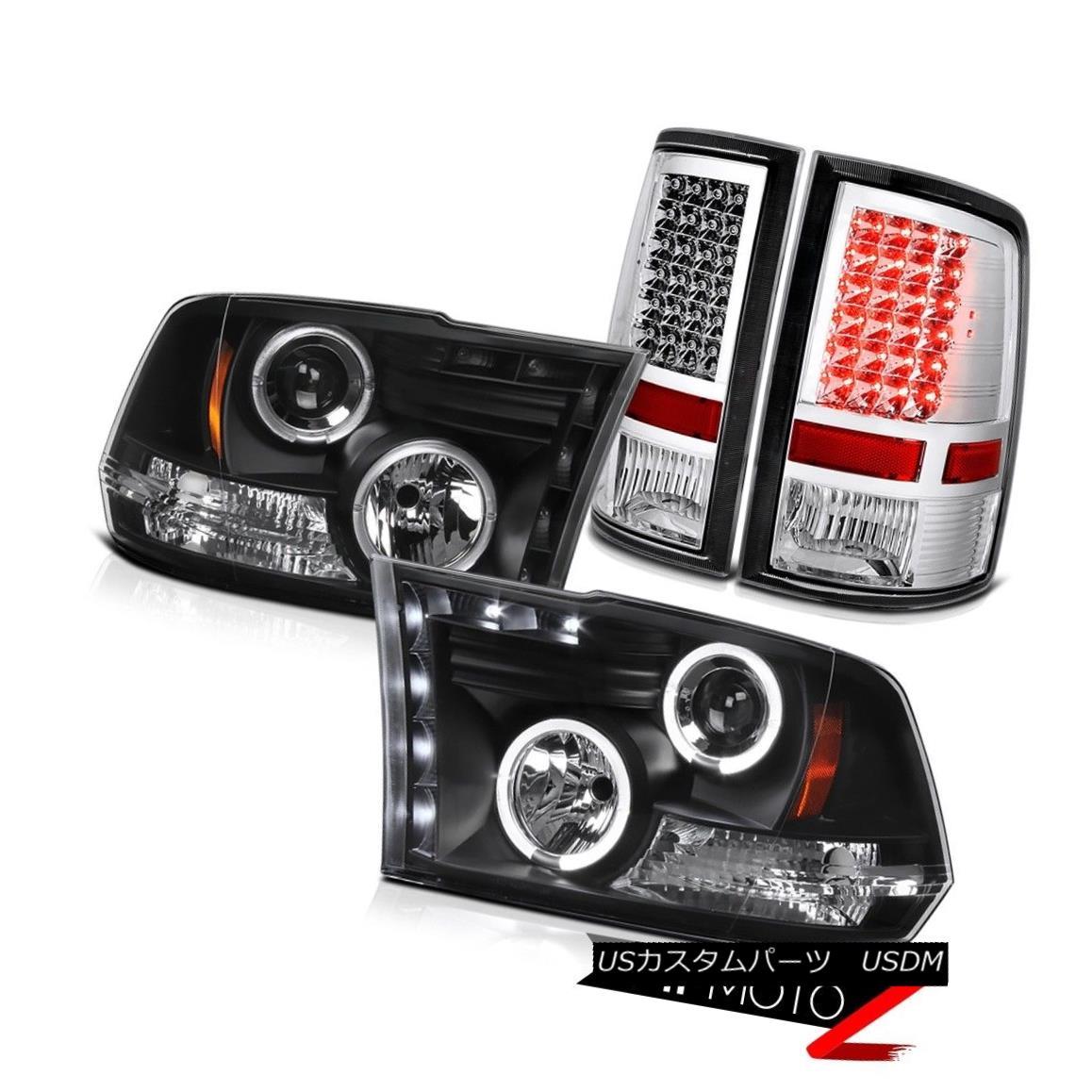 テールライト 2009-2018 Dodge Ram LED DRL Projector Headlight Chrome Rear Taillight Brake Lamp 2009-2018 Dodge Ram LED DRLプロジェクターヘッドライトクロームリアティアライトブレーキランプ