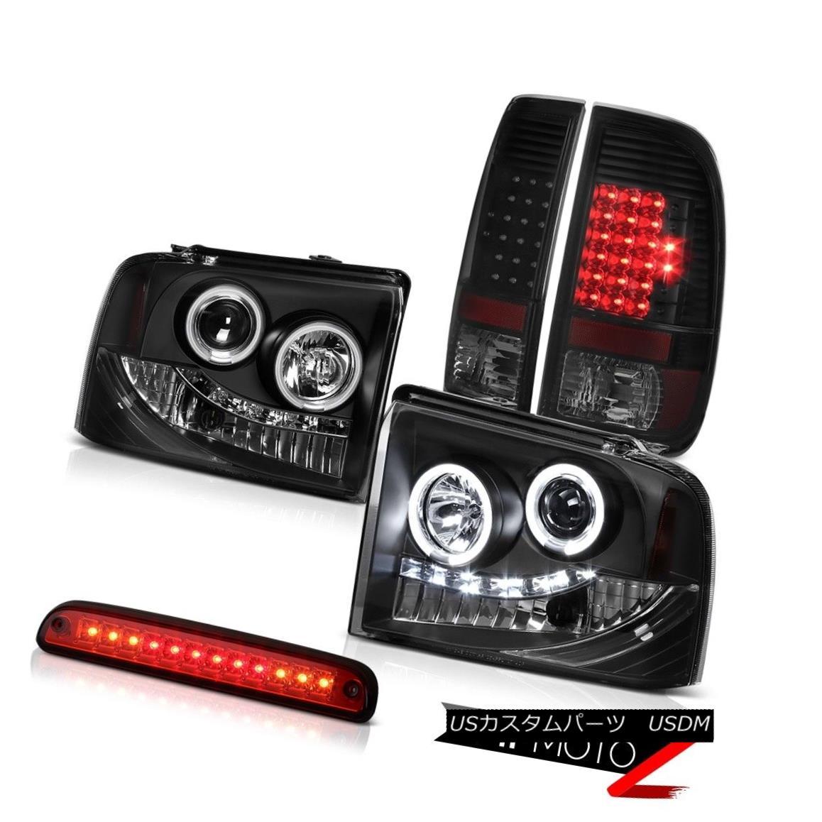 テールライト 05-07 F250 6.8L Angel Eye Projector Headlight Bright LED Tail Lamp High Stop Red 05-07 F250 6.8Lエンジェルアイプロジェクターヘッドライト明るいLEDテールランプハイストップレッド