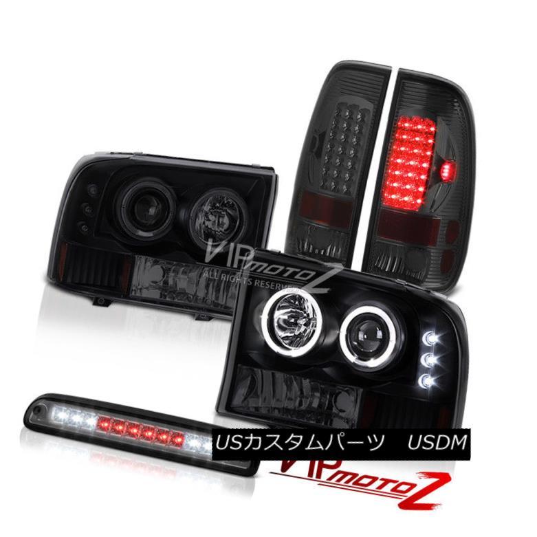 テールライト Angel Eye CCFL Headlights LED Smoke Glass Third Brake Tail Light 99-04 F350 7.3L エンジェルアイCCFLヘッドライトLED煙ガラス第3ブレーキテールライト99-04 F350 7.3L