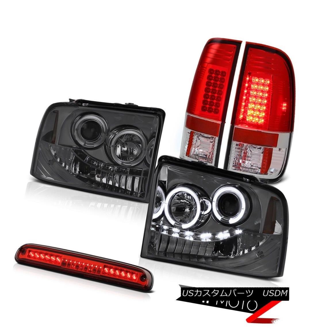 テールライト 2005-2007 Ford F250 XLT Smoke Halo Headlights Red LED Tail Lights Roof High Stop 2005-2007フォードF250 XLTスモークハローヘッドライトレッドLEDテールライトルーフハイストップ