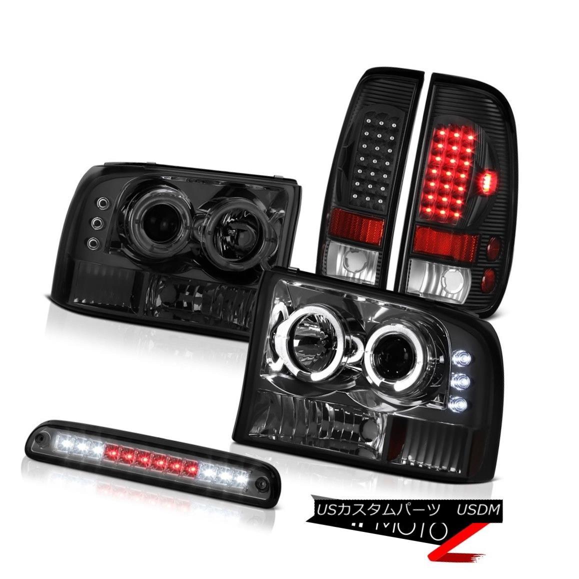 テールライト Headlight Halo DRL LED High Stop Smoke Bright Tail Light 99-04 F250 Turbo Diesel ヘッドライトHalo DRL LEDハイストップスモークブライトテールライト99-04 F250ターボディーゼル