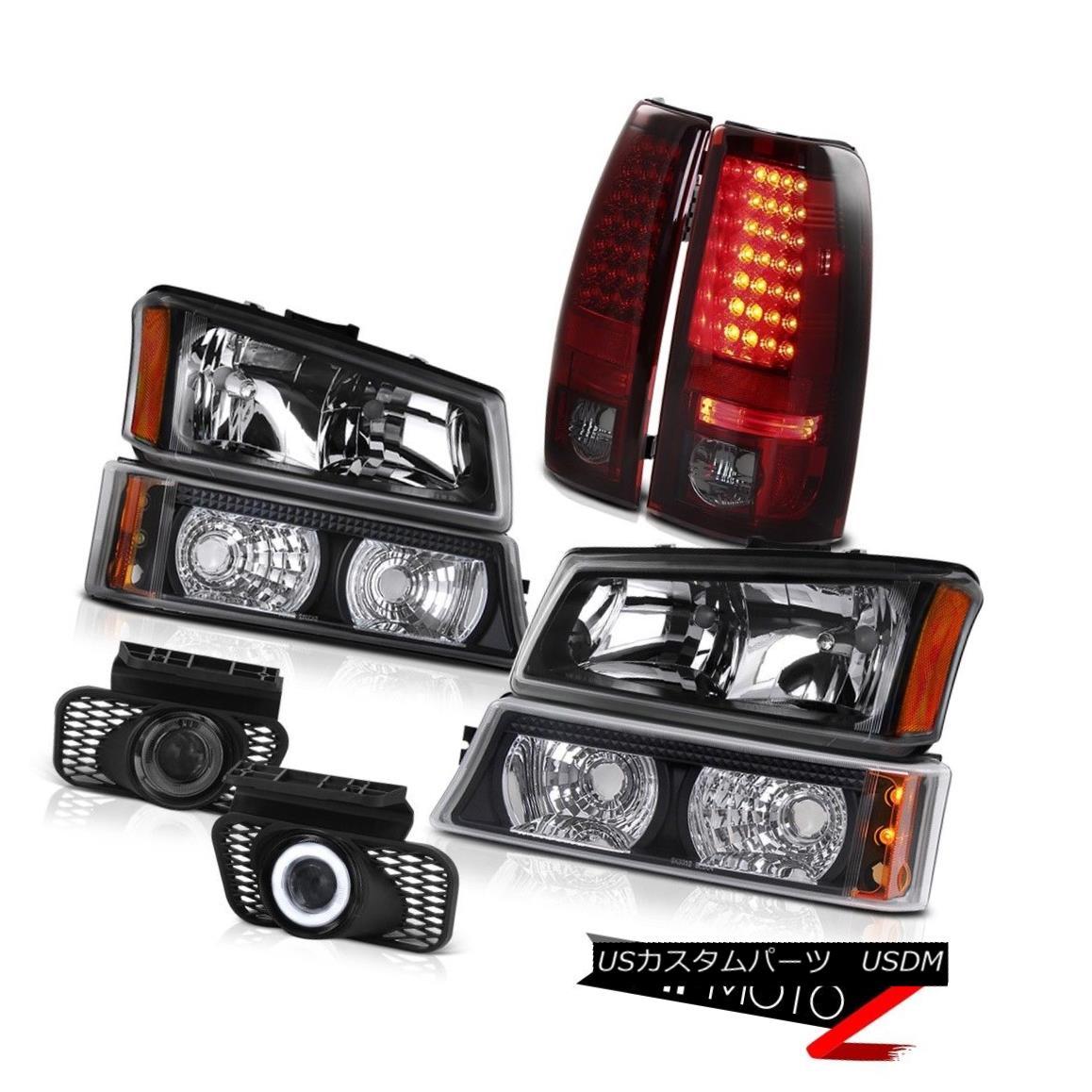 テールライト Pair Black Headlamps Bumper Cherry Tail Light LED Foglamps 03-06 Silverado 1500 ペアブラックヘッドランプバンパーチェリーテールライトLEDフォグランプ03-06 Silverado 1500