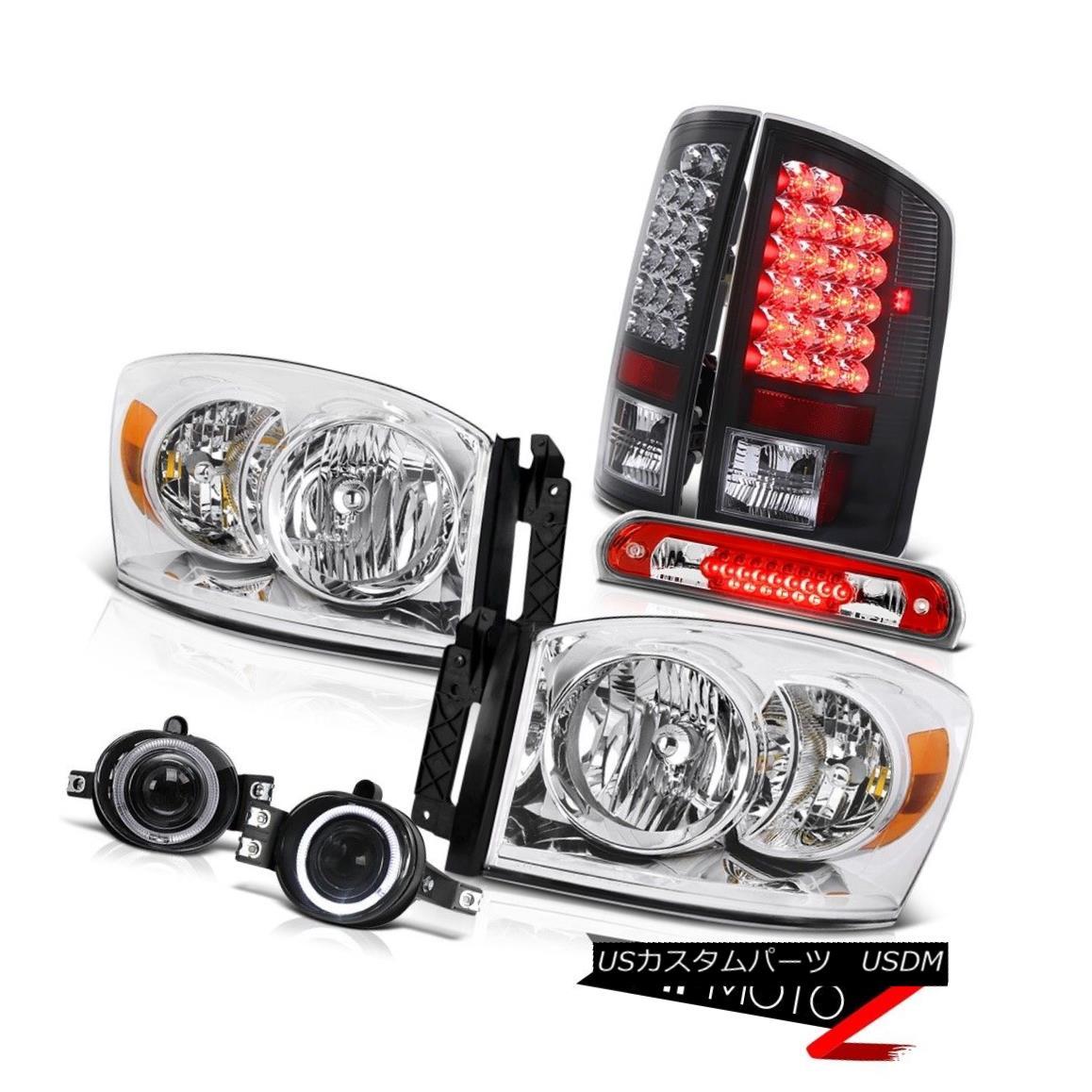 テールライト Pair Chrome Headlights Black LED Tail Lights Fog 3RD Cargo 2006 Dodge Ram SLT ペアクロームヘッドライトブラックLEDテールライトフォグ3RD Cargo 2006ダッジラムSLT