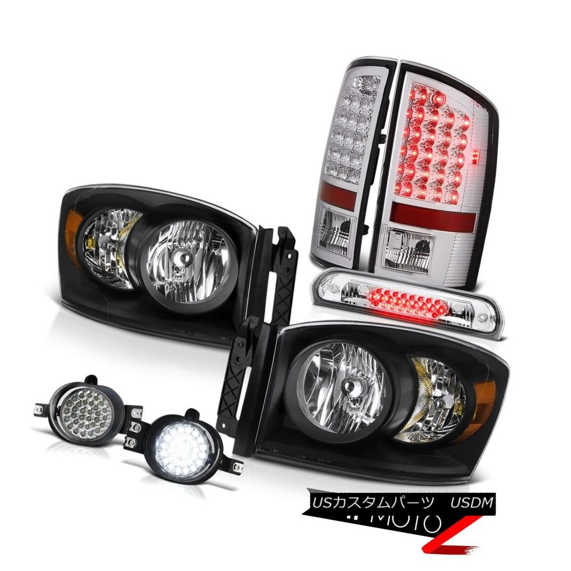 テールライト Black Headlights LED Brake Tail Lights D.R.L Fog Third Cargo 2006 Dodge Ram V8 ブラックヘッドライトLEDブレーキテールライトD.R.L Fog Third Cargo 2006 Dodge Ram V8