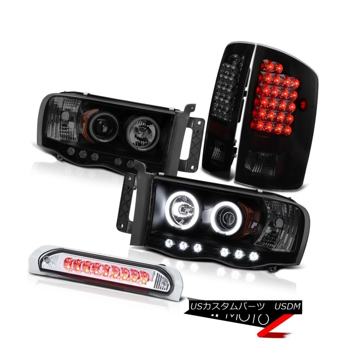 テールライト 2004 2005 Ram PowerTech 4.7L WS Brightest CCFL Halo Headlight Smoke LED Tail Li 2004年2005年Ram PowerTech 4.7L WS最も明るいCCFL HaloヘッドライトスモークLEDテールLi