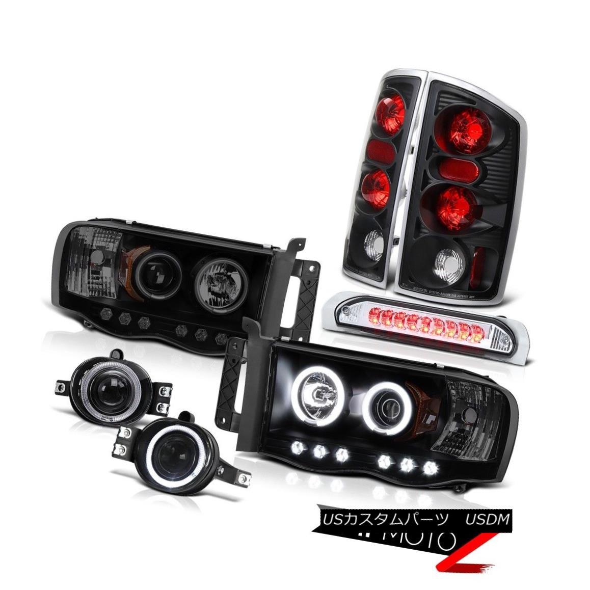 テールライト 02-05 Dodge Ram Hemi Dual CCFL Ring Headlight Rear 3rd Brake Taillamps Fog LED 02-05ダッジラムヘミデュアルCCFLリングヘッドライトリア第3ブレーキタイアンアンプフォグLED