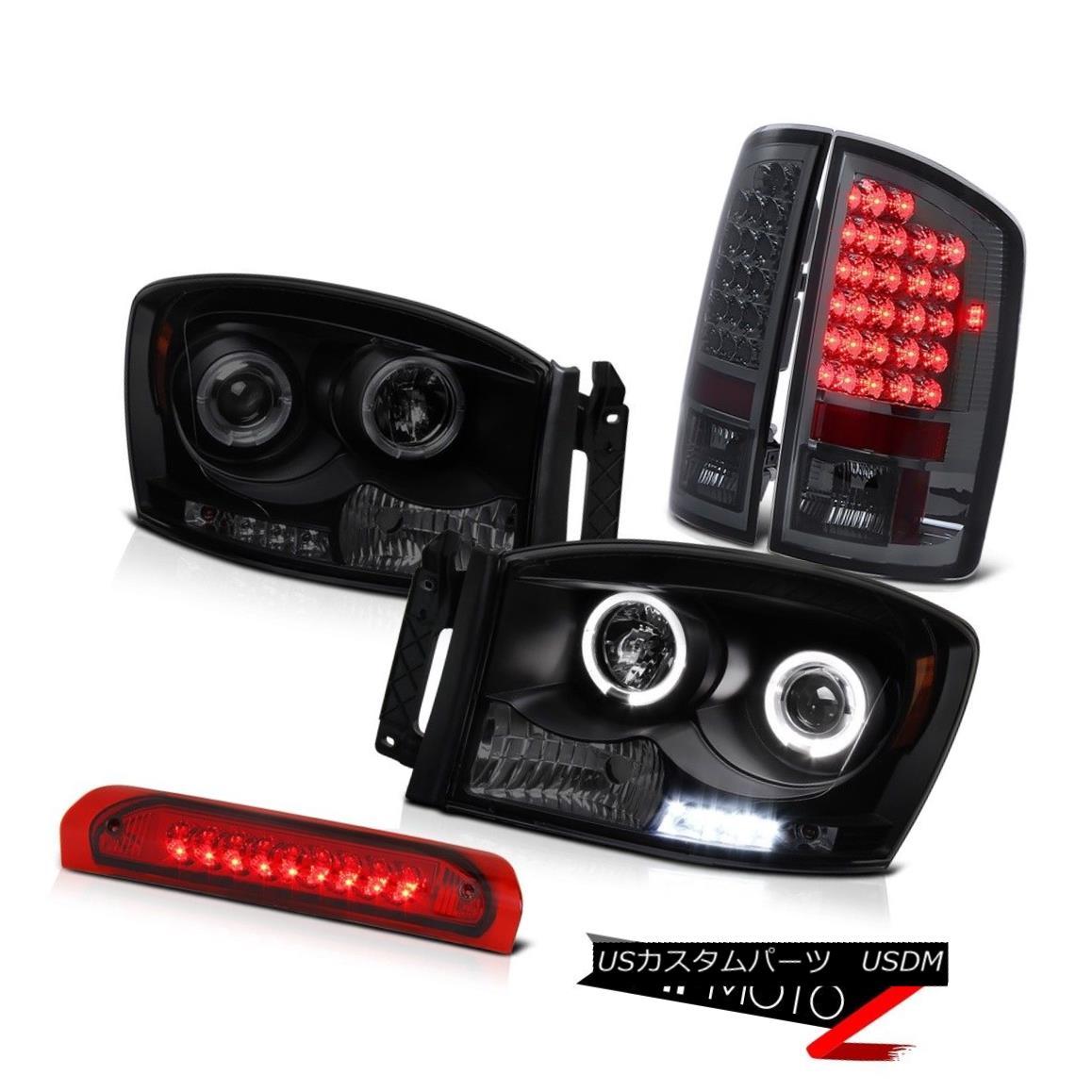 テールライト Halo Rim Headlight Smoke LED Brake Lamp Roof Red Ram Hemi 1500 5.7L WS 2007 2008 Halo RimヘッドライトスモークLEDブレーキランプRoof Red Ram Hemi 1500 5.7L WS 2007 2008