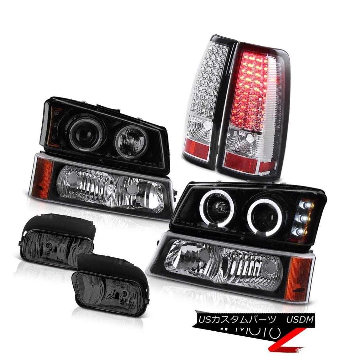 テールライト Headlight Halo Ring Smoke Black Parking SMD Rear Lights Foglamp 05 06 Silverado ヘッドライトハローリングスモークブラックパーキングSMDリアライトフォグライト05 06シルバラード