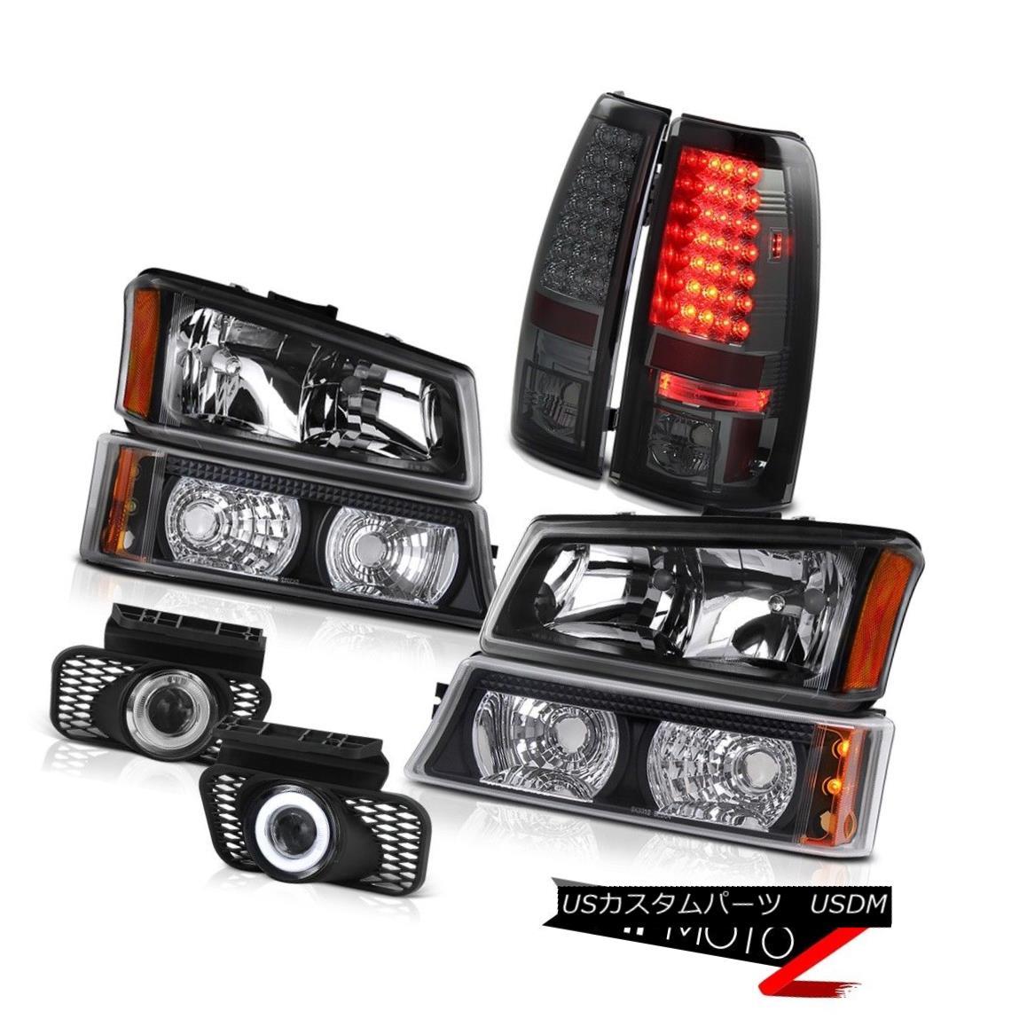 テールライト Black Headlamps Set Bumper Lamp LED Bulbs Tail Light Foglamp 2003 2004 Silverado ブラックヘッドランプセットバンパーランプLED電球テールライトFoglamp 2003 2004 Silverado