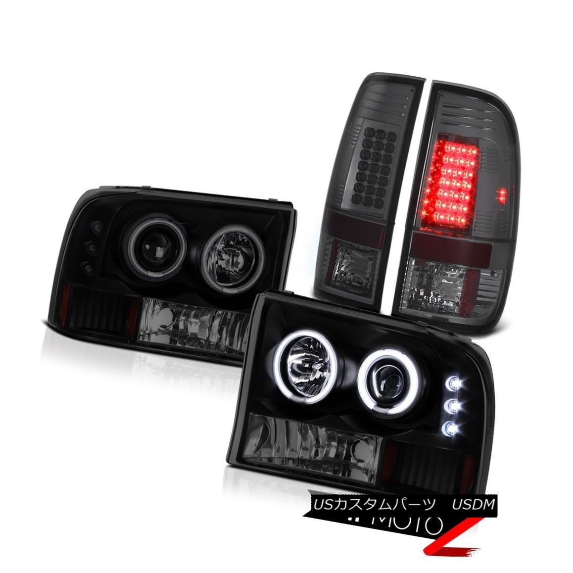 テールライト 99-04 F250/350/450 Smoke LED Rear Tail Light CCFL Angel EYe Projector Headlights 99-04 F250 / 350/450スモークLEDリアテールライトCCFLエンジェルEYeプロジェクターヘッドライト