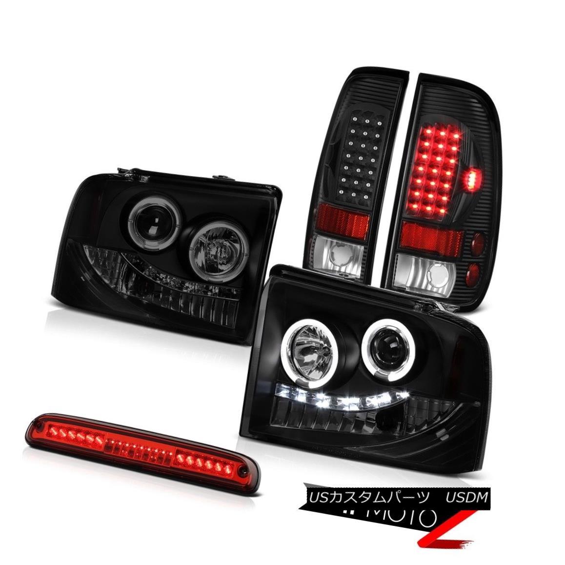 テールライト 2005-2007 F350 Turbo Diesel SMD DRL Headlamps LED Black Taillight Roof Brake Red 2005-2007 F350ターボディーゼルSMD DRLヘッドランプLEDブラックテールライトルーフブレーキ赤