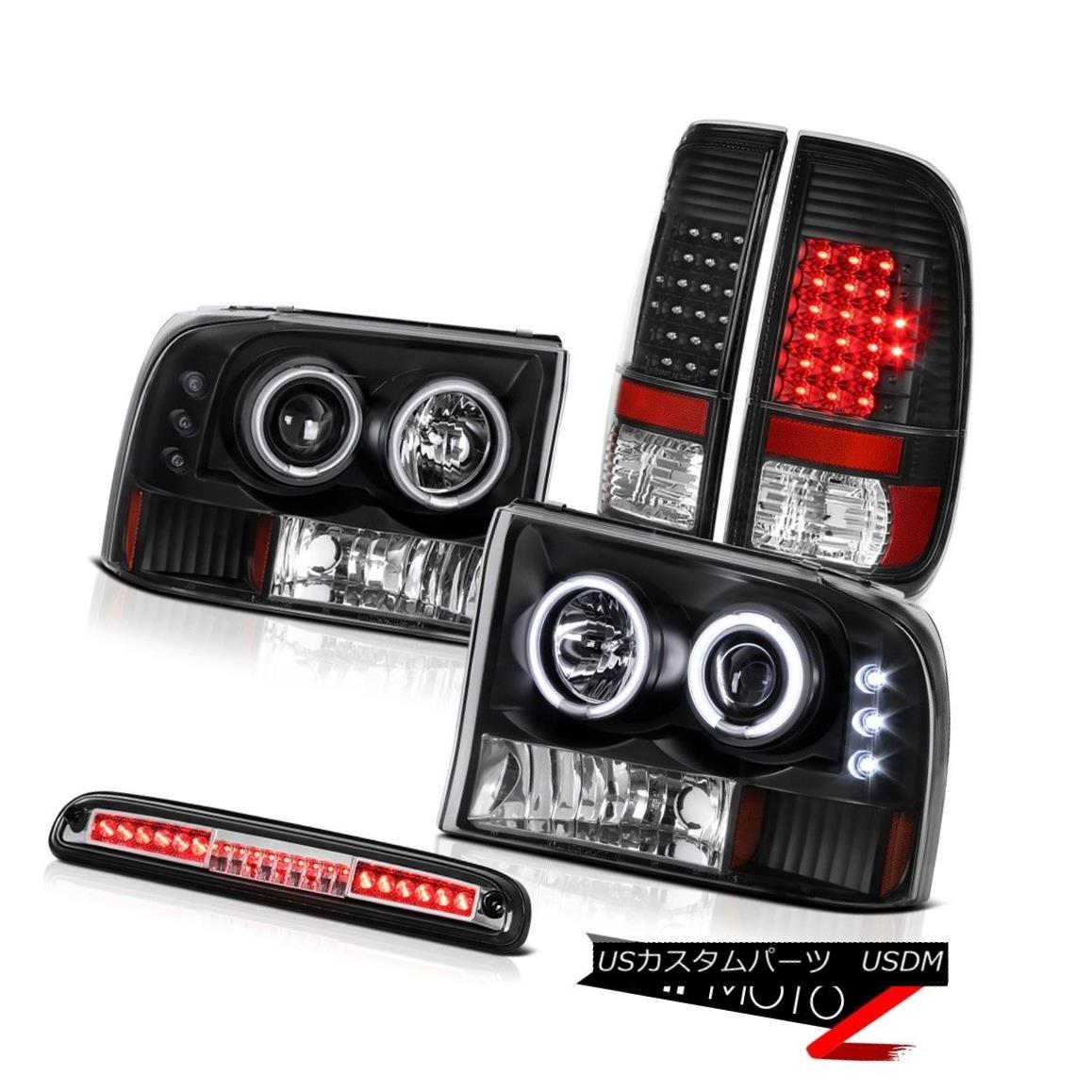 テールライト 1999-2004 F350 Turbo Diesel Angel Eye DRL Headlights LED Black Taillamps Brake 1999-2004 F350ターボディーゼルエンジェルアイDRLヘッドライトLEDブラックタイランプブレーキ
