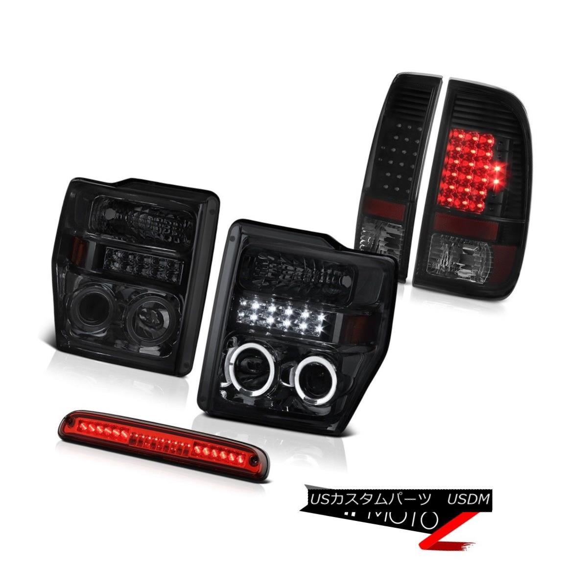 テールライト 08-10 F350 5.4L Smoke LED Halo Headlights Brake Tail Lights Wine Red Roof Stop 08-10 F350 5.4LスモークLEDハローヘッドライトブレーキテールライトワインレッドルーフストップ