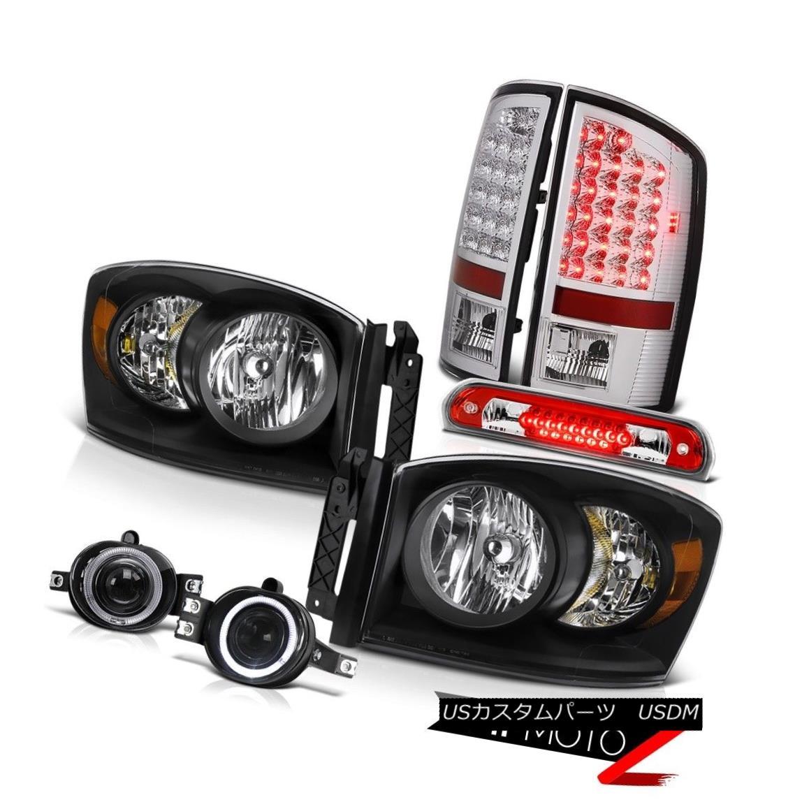テールライト 2007-2008 Ram Magnum V8 Black Headlights BRIGHTEST LED Tail Lights Glass Fog 3rd 2007-2008ラムマグナムV8ブラックヘッドライトBRIGHTEST LEDテールライトグラスフォッグ3rd