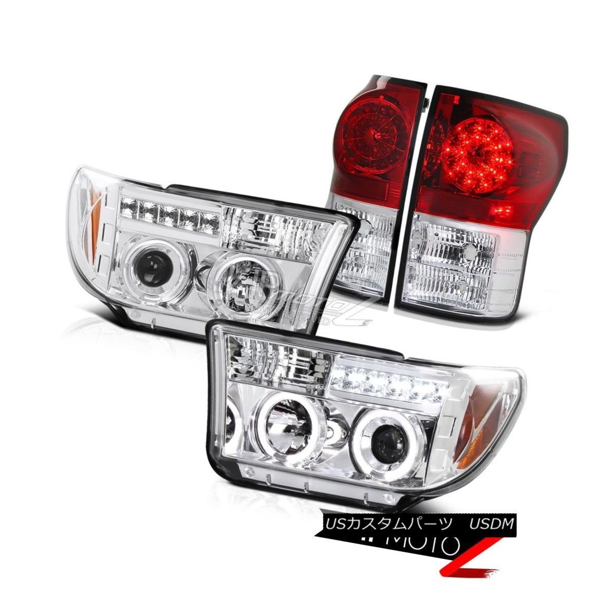 テールライト 07-13 Toyota Tundra Chrome Halo Projector Headlight+Factory Style LED Tail Light 07-13トヨタトンドラクロームハロープロジェクターヘッドライト+ファクト oryスタイルLEDテールライト