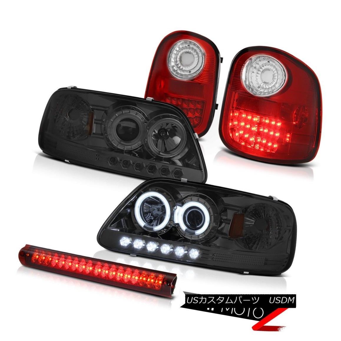 テールライト Smoke Halo Headlamps LH+RH LED Brake Lights High 97-03 F150 Flareside Hertiage Smoke HaloヘッドランプLH + RH LEDブレーキライトHigh 97-03 F150 Flareside Heritage