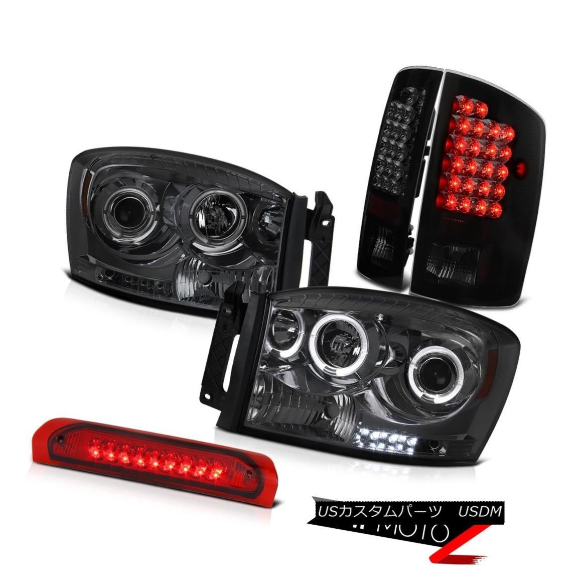 テールライト 2006 Dodge Ram Halo Headlight+SMOKED LED Tail Lamps+Third Brake Lights Mega Cab 2006 Dodge Ram Haloヘッドライト+ SMOK ED LEDテールランプ+第3ブレーキライトメガキャブ