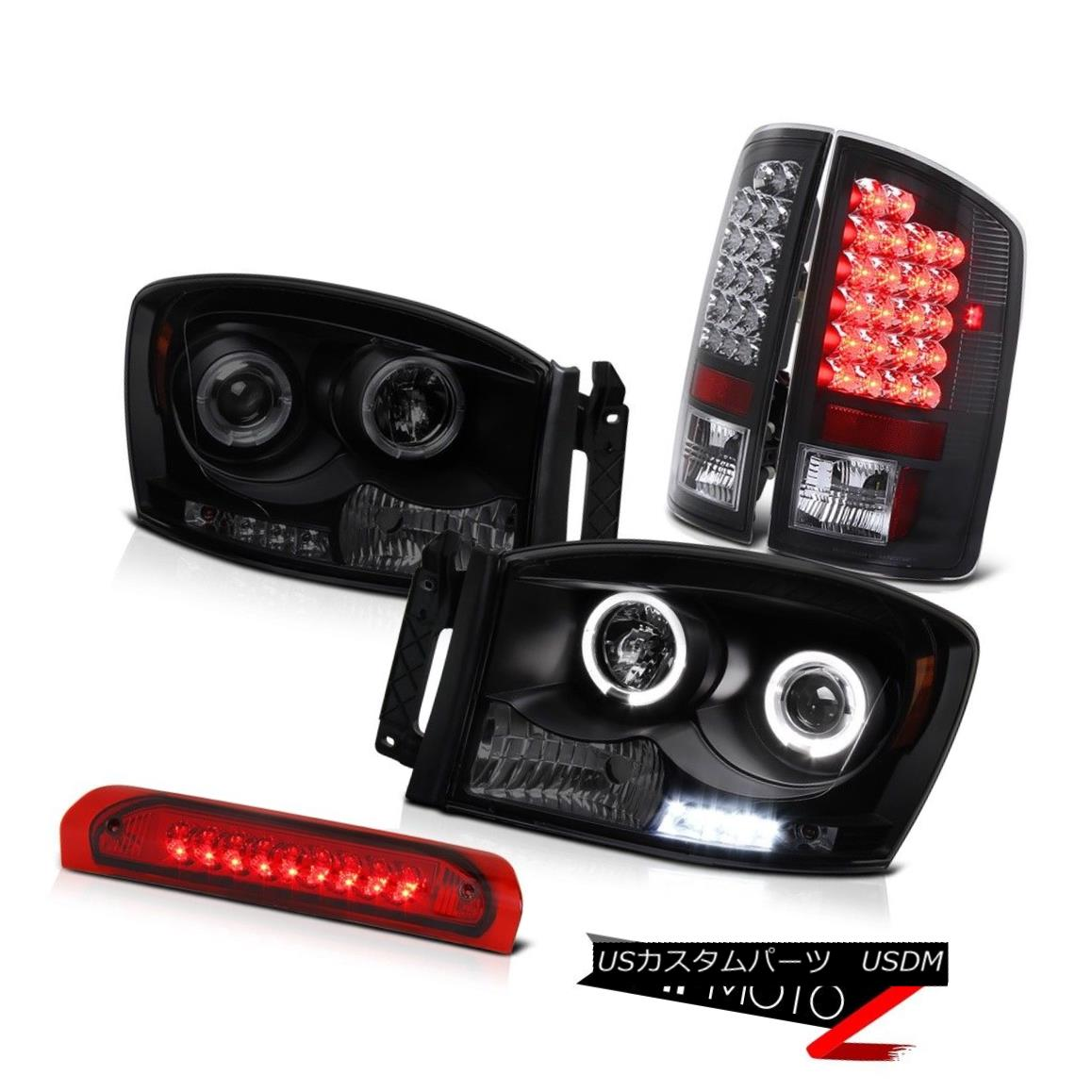 テールライト Sinister Black Headlight Halo SMD Tail Red Third Brake Light LED Ram 5.9L 07 08 シニスターブラックヘッドライトハローSMDテールレッド第3ブレーキライトLEDラム5.9L 07 08