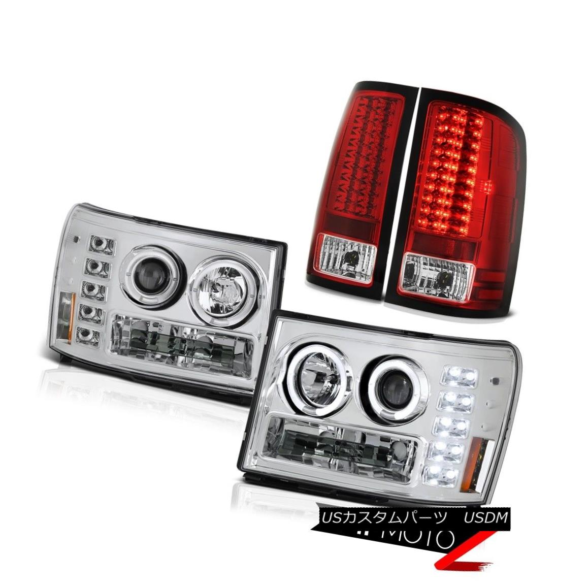 テールライト 2007-2013 GMC Sierra 6.0L WT Euro Halo LED Projector Headlight Taillamps Chrome 2007-2013 GMC Sierra 6.0L WTユーロHalo LEDプロジェクターヘッドライトトライアングルクローム