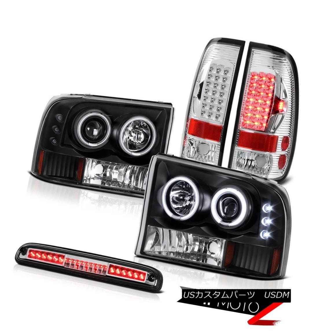 テールライト Black CCFLr Headlight SMD Rear TailLight High Brake Cargo LED 99-04 Ford F350 SD ブラックCCFLrヘッドライトSMDリアテールライトハイブレーキカーゴLED 99-04 Ford F350 SD