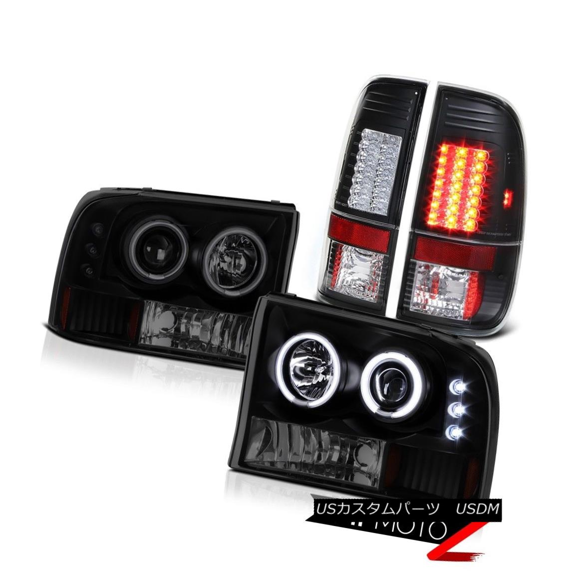 テールライト Darkest Black LED Smoke Tail Light Brake Lamp CCFL Halo DRL Angel EYe Headlights 最も暗い黒LED煙テールライトブレーキランプCCFL Halo DRL Angel EYeヘッドライト